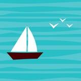 Litet fartyg med Seagulls i havet Sommar stock illustrationer