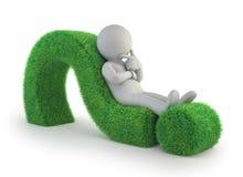 litet folk 3d - ligga på en grön frågefläck royaltyfri illustrationer