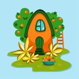 Litet gulligt orange landshus stock illustrationer