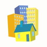 Litet hus i bakgrundshöghusen Arkivfoto