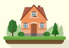 Litet hus med afton- eller nattlandskap stock illustrationer
