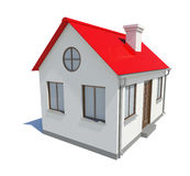 Litet hus med det röda taket på vit bakgrund Arkivbild