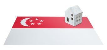 Litet hus på en flagga - Singapore Royaltyfria Foton