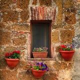 Litet italienskt fönster med trevliga blommor, Italien Arkivfoto