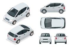 Litet kompakt elektriskt medel eller hybrid- bil Eco-vänskapsmatch högteknologisk automatisk stock illustrationer