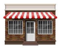 Litet lager 3d för tegelsten eller främre fasad för boutique Den yttre boutique shoppar med fönstret Modellen av den realistiska  stock illustrationer