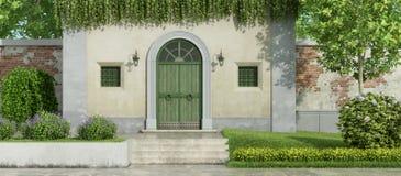 Litet landshus med trädgården Royaltyfria Bilder