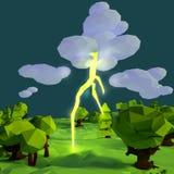 Litet landskap med exponeringen, blixt och stormen stock illustrationer