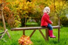 Litet litet barnflickasammanträde på en träbänk Arkivbilder