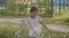 Litet lockigt och mer flicka som blåser maskrosen och mer ultrarapidvideo liten flicka som spelar med blommamaskrosor in stock video