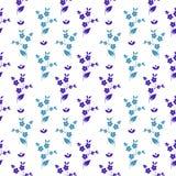 Litet mörker för sömlös modell för vektor blom- och ljus - blåttblommor i symmetrisk ordning på vit bakgrund, millefleurs royaltyfri illustrationer
