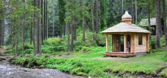 Litet naturligt hus, som byggs av trä Byggnaden lokaliseras i skogen royaltyfri foto