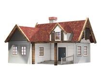 Litet panelbrädasidinghus med det röda taket som isoleras på en vit bakgrund, liten stuga, illustration 3D Arkivfoton