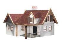 Litet panelbrädasidinghus med det röda taket som isoleras på en vit bakgrund, liten stuga, illustration 3D Arkivfoto