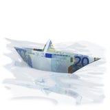 Litet pappers- fartyg med 20 euro Fotografering för Bildbyråer