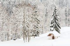 Litet snöig alpint kapell i skogen I Arkivfoton