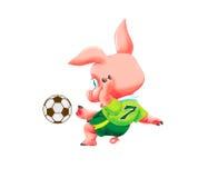 Litet svin med fotbollbollen Royaltyfri Fotografi