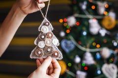 Litet träd för nytt år i händer Royaltyfria Bilder