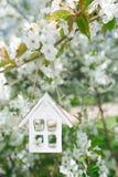 Litet trähus i vår med den körsbärsröda blomman sakura för blomning Royaltyfria Foton