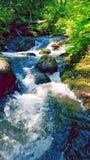 Litet vattenfall & solsken på stenblockliten vik Fotografering för Bildbyråer