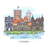 Litewscy zabytki lub Lithuania punkt zwrotny ilustracja wektor