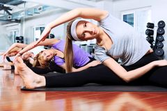 Lithe. Group of young women in the gym centre Stock Images