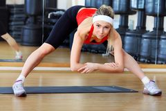 Lithe girl. Young sporty woman in the gym centre Stock Photos