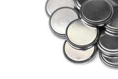 Lithium battery. A pile of  button cell lithium battery isolated Stock Images