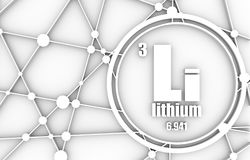 Lithium chemical element. Sign with atomic number and atomic weight. Chemical element of periodic table. Molecule And Communication Background. Connected lines Stock Images