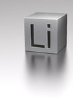 Lithium cube with Li sign at lithium plane Stock Images
