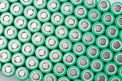 Lithium ion 18650 batteries. Lithium ion 18650 size industrial high current batteries Royalty Free Stock Photography