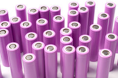 Lithium ion 18650 size batteries. Lithium ion 18650 size industrial high current batteries Royalty Free Stock Photo