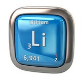 Lithium Li chemical element from the periodic table blue icon. 3d illustration on white background Royalty Free Stock Images