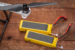 Lithium polymer batterieies. Two lithium-ion polymer rechargeable battery (abbreviated as LiPo, LIP, Li-poly) with balancing and main power plugs. LiPo batteries Stock Photography