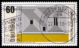 """Lithographie de """"sanctuaire """"par Josef Albers, Walter Gropius, fondateur d'école de Bauhaus de l'art, serie de Weimar, vers 1983 photos stock"""