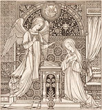 The lithography of Annunciation in Missale Romanum designed by unknown artist 1892 Stock Photo