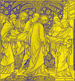 The lithography of The Burial of Jesus in Missale Romanum by unknown artist with the initials F.M.S 1885 Royalty Free Stock Photos