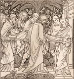 The lithography of The Burial of Jesus in Missale Romanum by unknown artist with the initials F.M.S 1885 Royalty Free Stock Images
