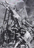 The lithography of Elevation of the Cross (1906) after Rubens Royalty Free Stock Photos