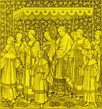 The lithography of The feast of  The Most Holy Body and Blood of Christ procession by unknown artist F.M.S  1889 Royalty Free Stock Photo