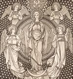 The lithography of The Immaculate conception among the angels by unknown artist F.M.S  1889 Royalty Free Stock Images