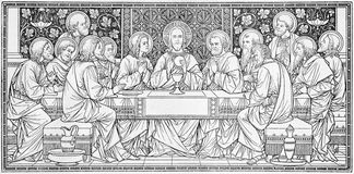 The lithography of Last Supper in Missale Romanum by unknown artist with the initials F.M.S from end of 19. cent. Stock Image