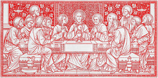 The lithography of Last Supper in Missale Romanum by unknown artist with the initials F.M.S from end of 19. cent. Royalty Free Stock Photography