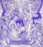 The lithography of Nativity in Missale Romanum by unknown artist with the initials F.M.S from end of 19. cent. Royalty Free Stock Image