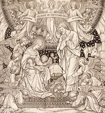 The lithography of Nativity in Missale Romanum by unknown artist with the initials F.M.S from end of 19. cent. Stock Photography