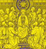 The lithography of The Pentecost in Missale Romanum by unknown artist with the initials F.M.S 1889 Stock Photography