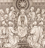 The lithography of The Pentecost in Missale Romanum by unknown artist with the initials F.M.S 1889 stock photos