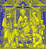 The lithography of Three Magi in Missale Romanum by unknown artist with the initials F.M.S from end of 19. cent. BRATISLAVA, SLOVAKIA, NOVEMBER - 21, 2016: The Stock Image