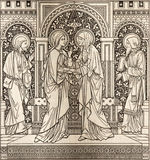 The lithography of The Visitation in Missale Romanum by unknown artist with the initials F.M.S  1885. BRATISLAVA, SLOVAKIA, NOVEMBER - 21, 2016: The lithography Stock Image