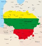 Lithuania. Abstract vector color map of Lithuania country coloured by national flag Stock Photography